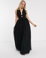 Asos DESIGN plunge tiered Grecian tulle maxi dress in black