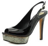 Vince Camuto Leala Women Open Toe Patent Leather Black Platform Heel.