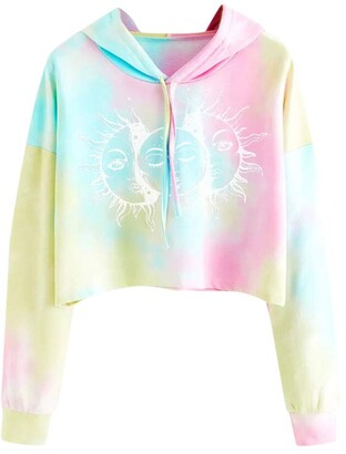 Mllkcao Women Tops for Ladies Fashion Tie-dye Long Sleeve Sweatshirt Casual Belly Button Pullover Printed Blouse White