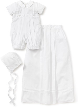 Kissy Kissy Graham Christening Romper, Detachable Skirt & Hat Set