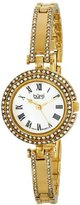 Burgi Women's BUR108YG Swiss Quartz Crystal Mother-of-Pearl Gold-tone Bracelet Watch
