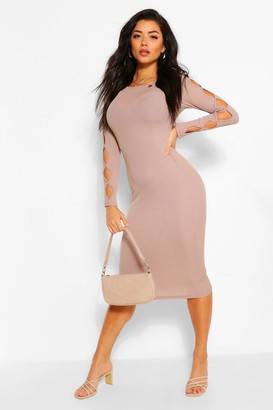 boohoo Rib Cut Out Long Sleeve Midi Dress