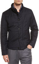 Ermenegildo Zegna Square-Quilted Button-Down Shirt Jacket, Navy
