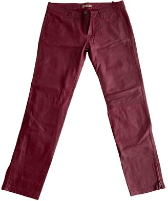 Bel Air Burgundy Leather Trousers for Women