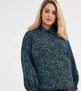 Fashion Union Plus shirt with tie sleeves in blue dalmatian