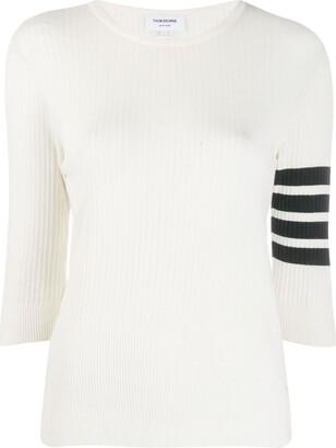 Thom Browne 4-Bar stripe ribbed-knit top