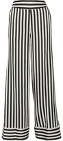 By Malene Birger Ladralla Striped Satin Wide-leg Pants - Black