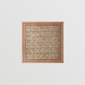 Burberry Logo Print Vintage Check Silk Square Scarf