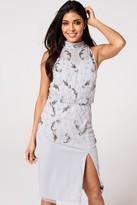 Little Mistress Luxury Kaylee Grey Floral Hand-Embellished Midi Pencil Dress