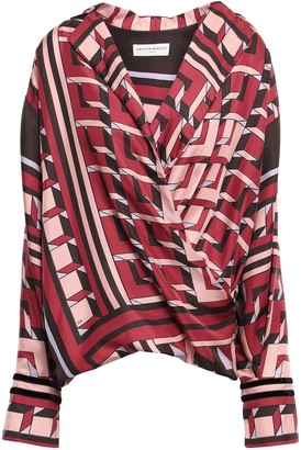 Amanda Wakeley Wrap-effect Velvet-trimmed Silk-twill Blouse