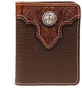Ariat Men's Top Concho Overlay Bifold Black Brown Wallet