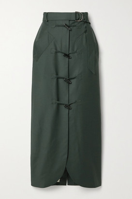 Situationist Belted Wool Midi Skirt - Dark green