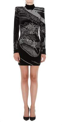 Balmain Mini Tight Strass Dress