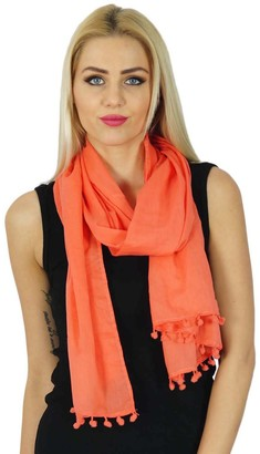 Bimba Women Long Cotton Scarf With Pom Pom Tassels Everyday Wear Soft Scarves - Colors Available