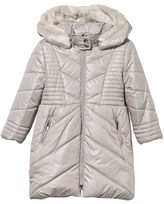 Mayoral Sand Longline Puffer Coat with Faux Fur Hood