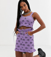 One Above Another structured top in scorpion monogram denim with embellishment co-ord