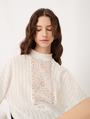 Maje Cotton, lurex and lace top