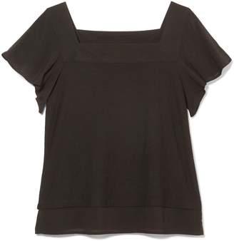 Square-neck Flutter-sleeve Top