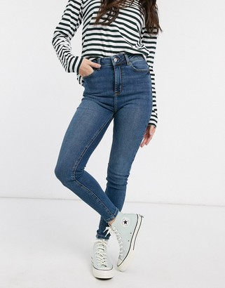 New Look high waist disco skinny jeans in mid blue