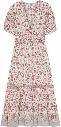 Ulla Johnson Zaria Gathered Printed Cotton-jacquard Midi Dress