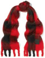 Loewe Plaid Mohair And Wool-blend Scarf - Black