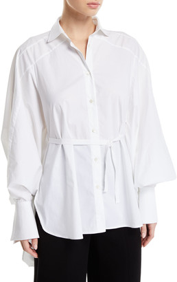 Palmer Harding Streep Draped-Back Cotton Button-Front Shirt