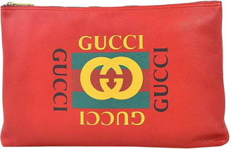 Gucci Red Leather Logo Printed Clutch