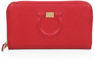 Salvatore Ferragamo Gancini Leather Zip-Around Wallet