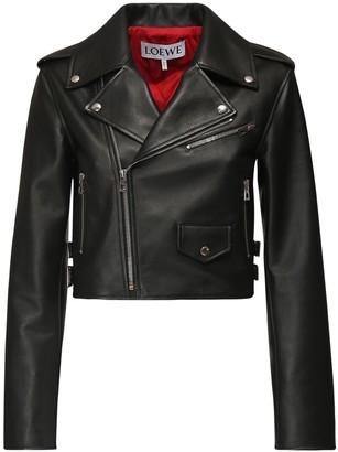 Loewe Cropped Leather Blend Biker Jacket
