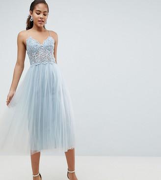 Asos DESIGN Tall premium lace cami top tulle midi dress