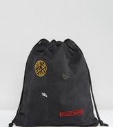 Sacred Hawk Sleazy Rider Washed Denim Drawstring Backpack