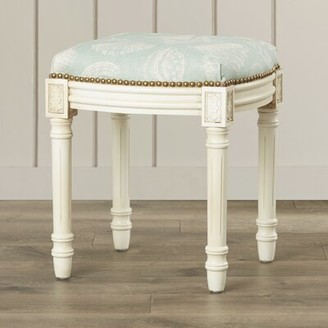 Highland Dunes Toscano Seashells Linen Upholstered Vanity Stool Color: Blue