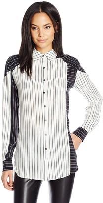 Dolce Vita Women's Boyfriend Washed Silk Allie Long Sleeve Button Down Top