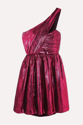 Saint Laurent One-shoulder Lame Mini Dress - Pink