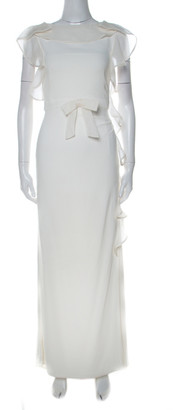 Valentino Off White Stretch Knit Ruffle Detail Sleeveless Gown S