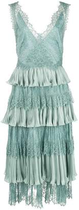 Marchesa lace tiered midi dress