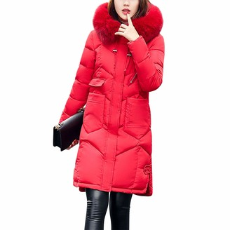 LAEMILIA Womens Down Puffa Jacket Drawstring Hooded Removable Collar Zip and Snap Closure Knee Length Coat Winter Warm Faux Fur Collar Overcoat Red