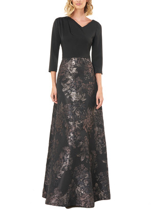 Kay Unger 3/4- Sleeve Printed Gown
