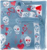 Alexander McQueen heart and skull print scarf
