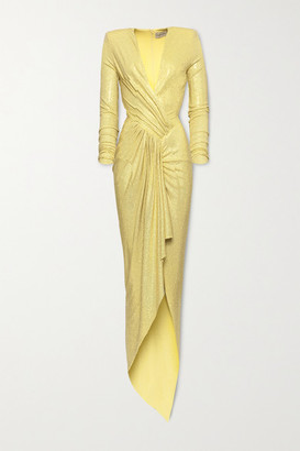 Alexandre Vauthier Gathered Crystal-embellished Stretch-jersey Gown - Yellow