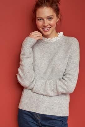 Next Womens Grey Lofty Pie Crust Collar Jumper - Grey