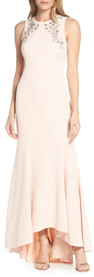 Eliza J Sleeveless Beaded Trumpet Evening Dress