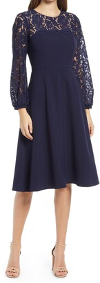 Eliza J Lace Long Sleeve Midi Dress