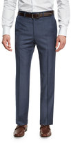Brioni Sharkskin Wool Flat-Front Trousers, Blue