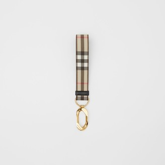 Burberry Leather Trim Vintage Check Charm