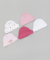SpaSilk Pink Butterfly Beanie Set