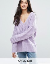 Asos Tall Chunky Jumper In Fluffy Yarn With V Neck