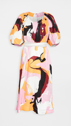Aje Psychedelia Midi Smock Dress