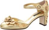 Dolce & Gabbana Gold Mary Jane Heels