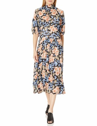 Rebecca Taylor Women's Long Sleeve Floral Midi Dress with Tie at Neckline